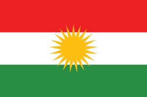 Die Flagge der Autonomen Region Kurdistan im Irak