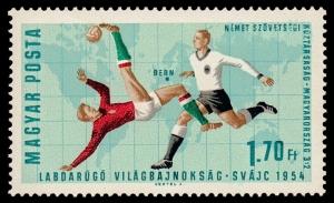 Eine ungarische Briefmarke erinnert an das Finale der WM 1954