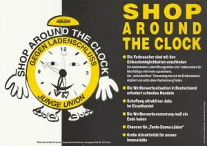 Die Junge Union wirbt 1995 für die Aufhebung der gesetzlichen Ladenöffnungszeiten (Bild: Archiv für Christlich-Demokratische Politik)