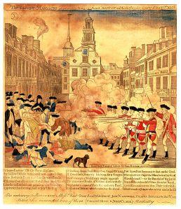 Einer der ersten Propagandabilder: Paul Reveres Stich vom Boston-Massaker 1775